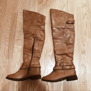 Tan faux leather over the knee boots